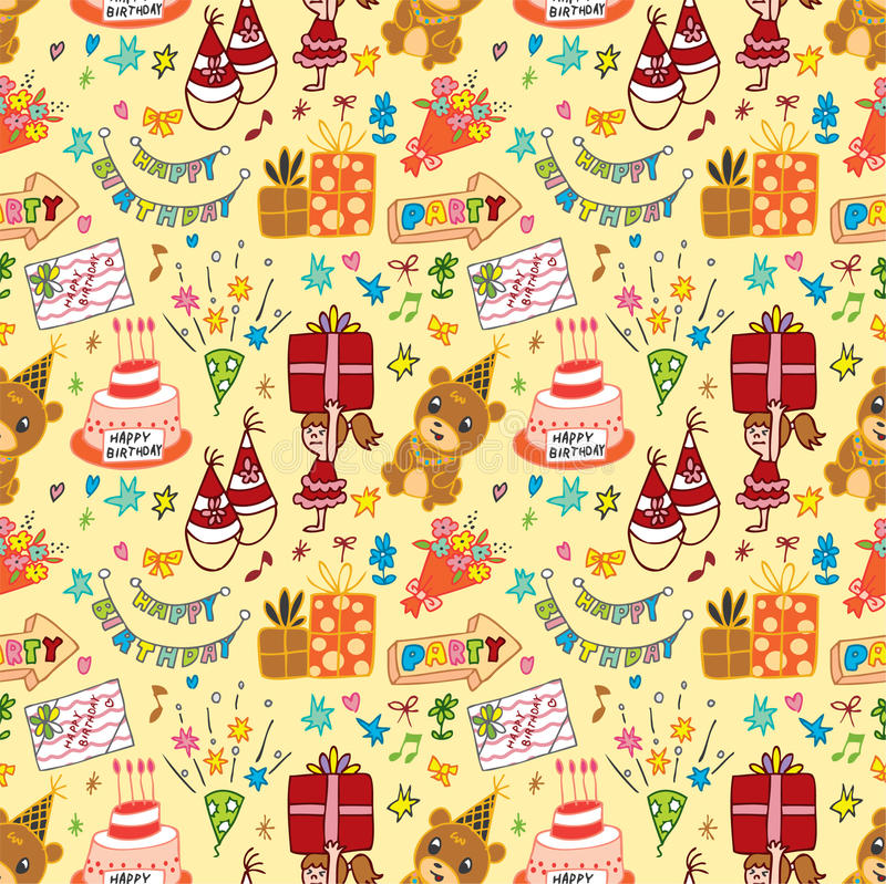Cute birthday seamless pattern
