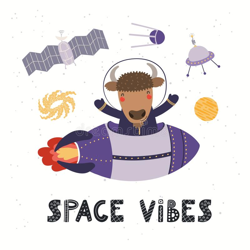 Cute bison astronaut vector illustration