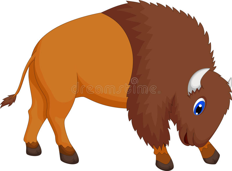 Cute bison cartoon royalty free illustration