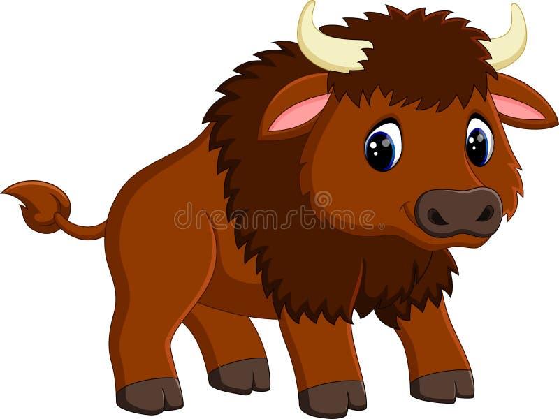 Cute bison cartoon vector illustration