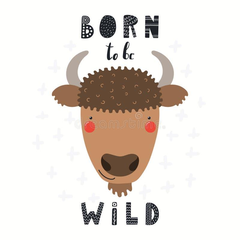Cute bison illustration stock illustration