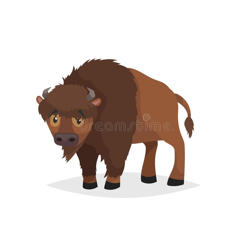 Cute bison standing. Cartoon comic style vector illustration of forest wild animal. Buffalo. royalty free illustration
