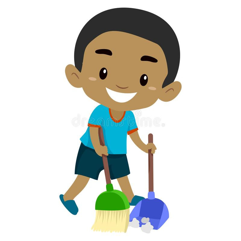 A Boy Sweeping The Dirt Stock Vector Illustration Of