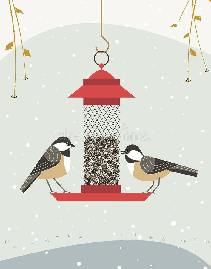 Bird feeding poster. Cute black capped chickadee bird poster. Comic flat cartoon. Minimalism simplicity design. Winter birds feeding by sunflower seeds in feeder vector illustration