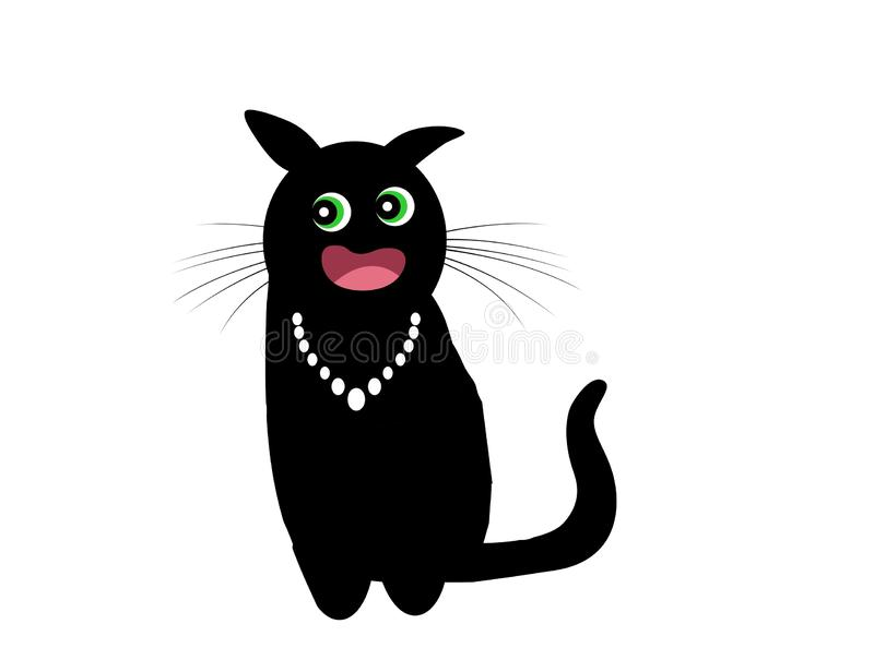 Cute black cat cartoon . Posing funny on white background. Illustration design royalty free stock images