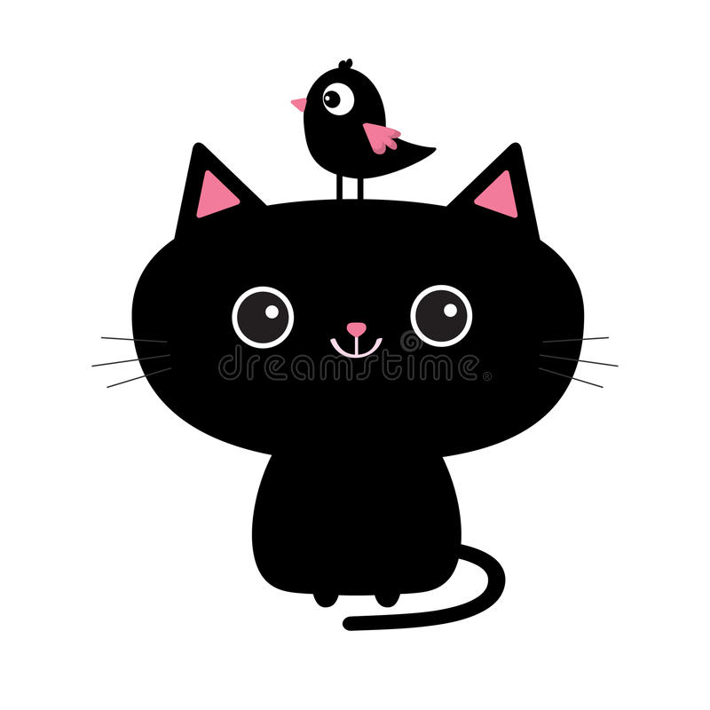 Cute black cat icon. Bird sitting on head face. Funny cartoon character. Kawaii animal. Tail, whisker, big eyes. Kitty kitten. Bab. Y pet collection. White vector illustration