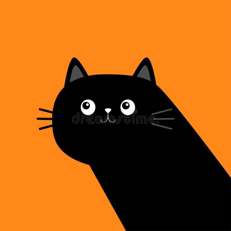 Free Cute Black Cat Kitten Face Head Body In The Corner. Kawaii Baby Pet Animal. Cartoon Character. Notebook Cover, Tshirt, Greeting Stock Photos - 220681803