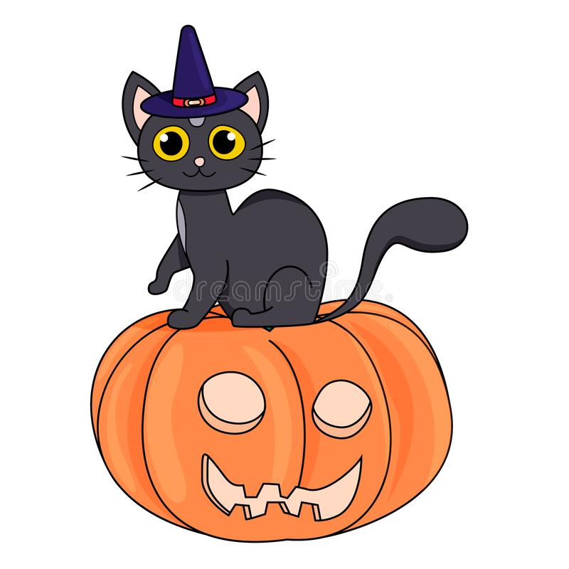 Cute black cat in a witch hat sitting on a Halloween pumpkin on white background stock illustration