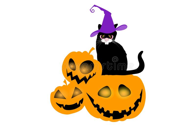 Cute black cat in a witch hat sitting on white background. royalty free stock photos