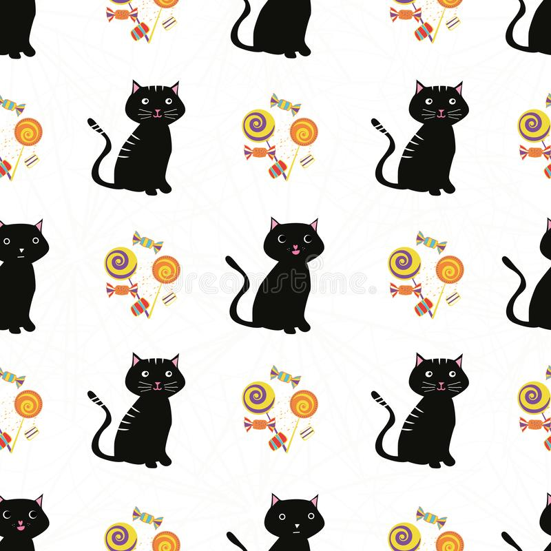 Cute black cats and multicolor candy design. Seamless geometric vector pattern on subtle spiderweb white background royalty free illustration