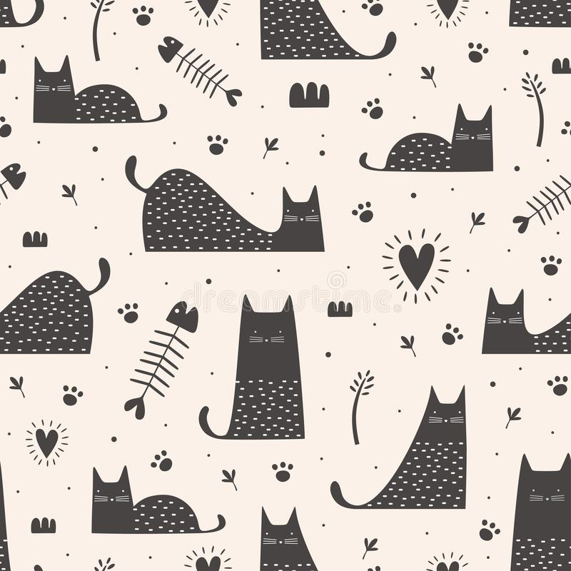 Cute black cats seamless pattern with hand drawn childish style. Vector illustration vintage trendy design stock illustration