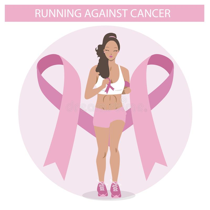 Cute Black girl running against cancer. Flat Illustration of a Woman in vector. Medical campaign icon. Cute Black girl running against cancer. Flat Illustration royalty free illustration