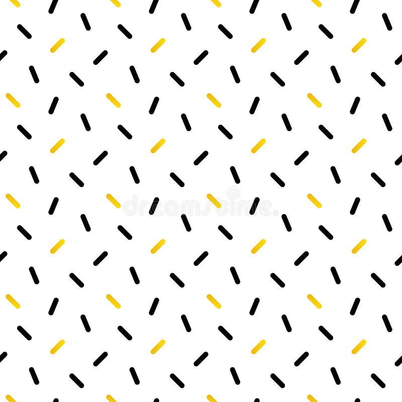 Cute black and gold confetti, geometric seamless pattern vector illustration