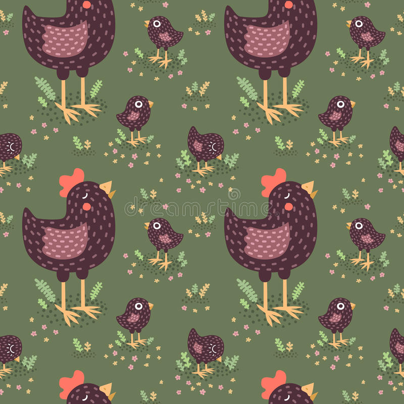 Cute black hens with baby chickens vector seamless pattern. Cute black hens with baby chickens on the green background with grass vector seamless pattern stock illustration