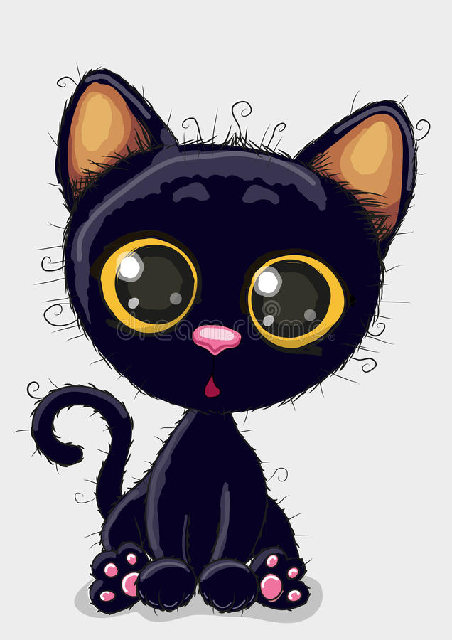 Cute Black kitten royalty free illustration