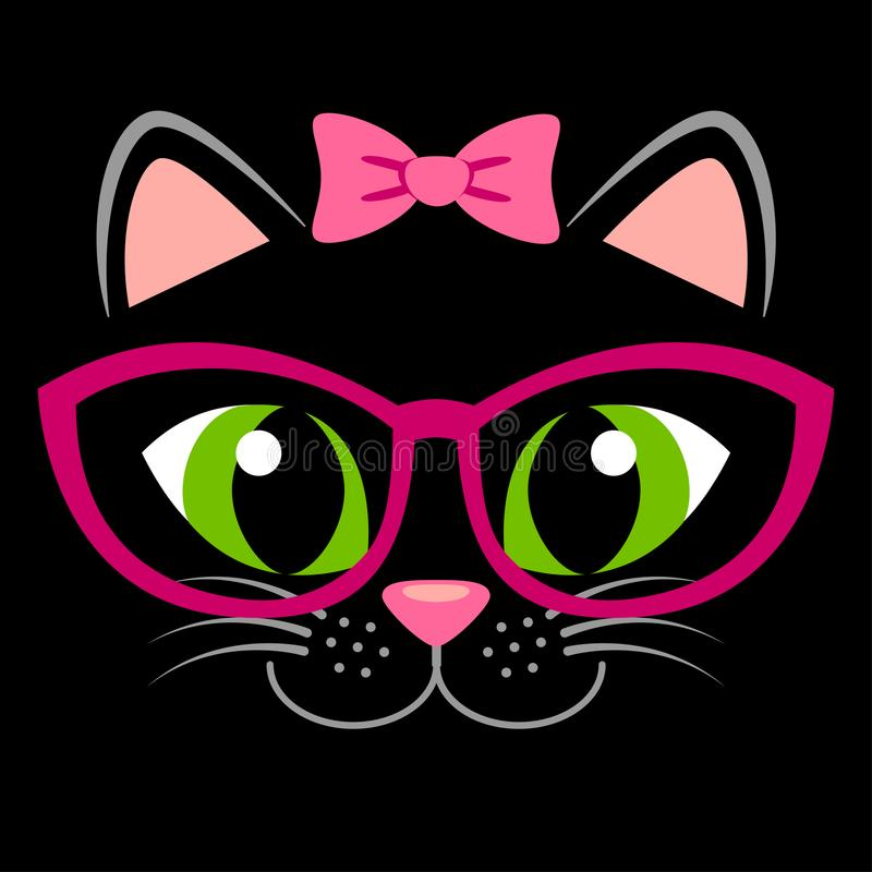 Cute black kitten with pink bow and glasses. Girlish print with kitty for t-shirt. Vector illustration stock illustration