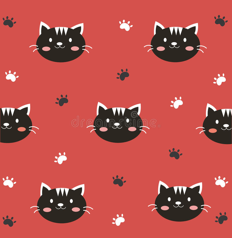 Cute black kitty wallpaper. Cute black kitty with red background stock illustration
