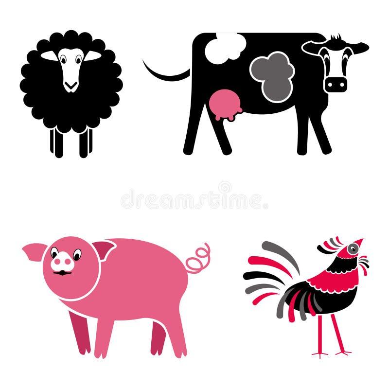 Cute black and pink farm animals vector set stock illustration