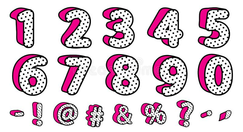 Cute black polka dots 3D set of numbers and signs. Vector LOL girly doll surprise style. Banner with hot pink shadow. Font design kids age. Picture for birth stock illustration