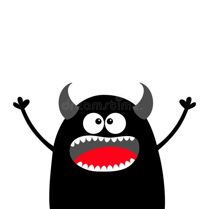 Cute black silhouette monster face. Happy Halloween. Cartoon colorful scary funny character. Eyes, tongue, horns, holding hands up. Funny baby collection stock illustration