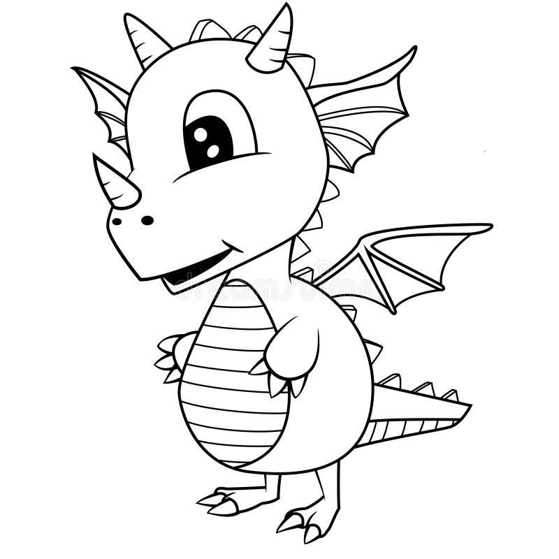 Cute Black and White Cartoon Baby Dragon vector illustration