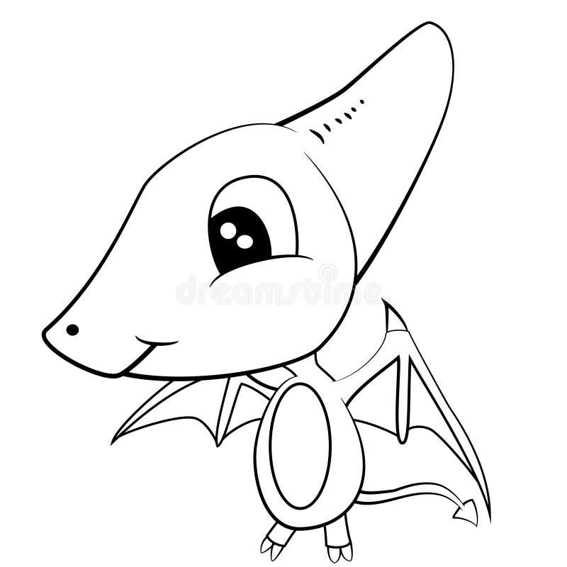 Cute Black And White Cartoon Of Baby Pterodactyl Dinosaur