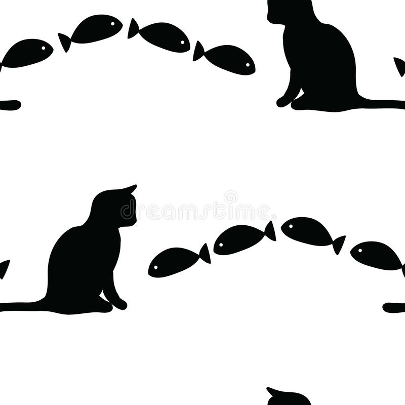 Cute Black White Cat and Fish vector seamless pattern. Add a little fun to your black and white decor vector illustration