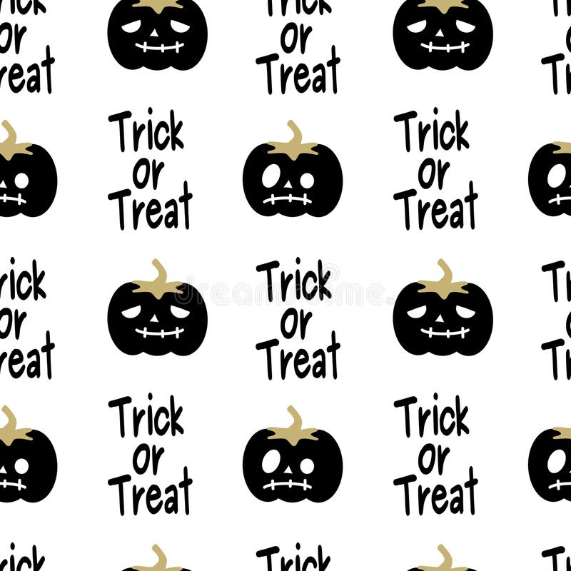 Cute black white and gold halloween seamless vector pattern background illustration with pumpkins and trick or treat phrase vector illustration