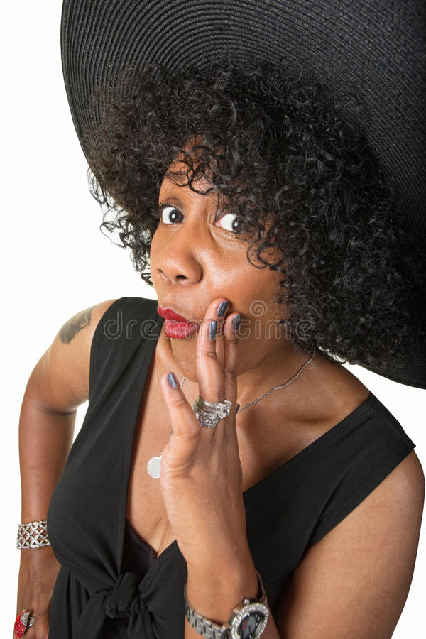 Download Cute Black Woman Whispering Stock Image - Image of sleeveless, curious: 33341181
