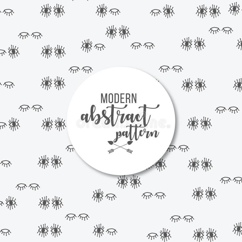 Cute blinking eyes print pattern background. Hand drawn eyes. repeat patterns. grey background. black hand painted eyes royalty free illustration