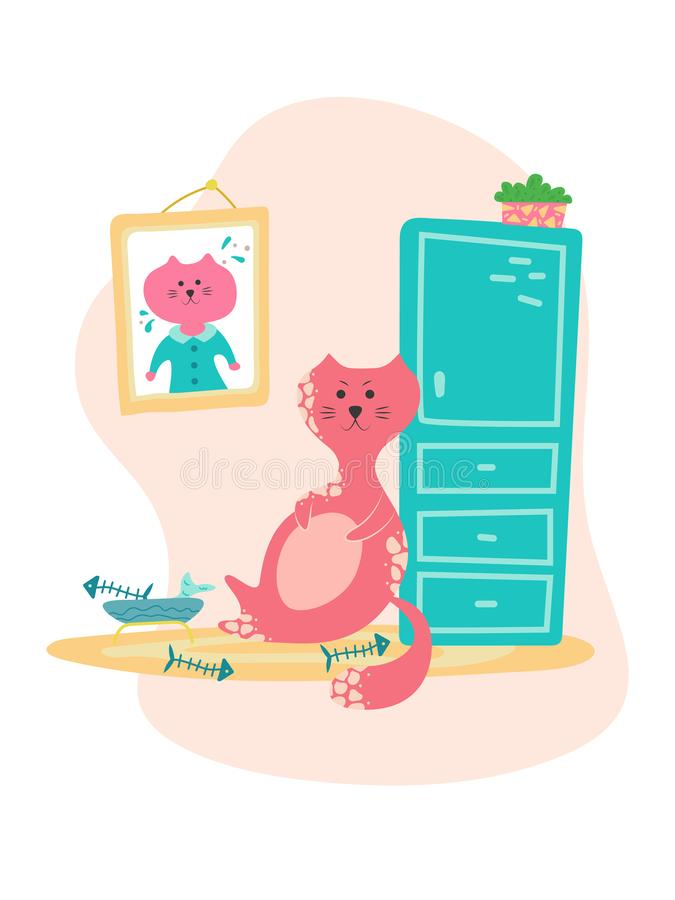 Cute bloated cat near the bowl of food in cartoon flat style. Hand drawn illustration with quote vector illustration