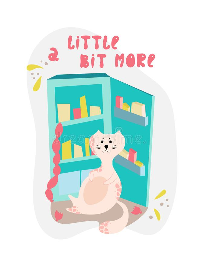 Cute bloated cat near the fridge in cartoon flat style. Hand drawn illustration with quote royalty free illustration