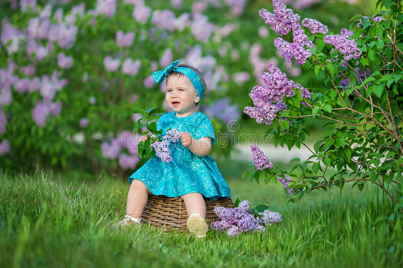 Cute blond baby girl enjoying time on a awesome place between lilac syringe bush.Young lady with basket full of flowers dressed in royalty free stock images