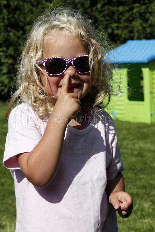 Download Cute Blond Girl Picking Her Nose Stock Image - Image of smiling, nose: 32414479