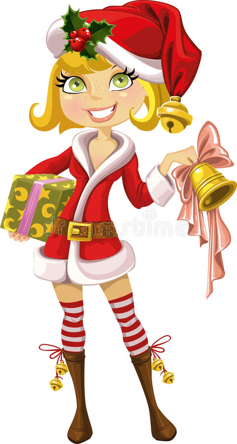 Cute blond girl in red Santa suit with bell stock photo