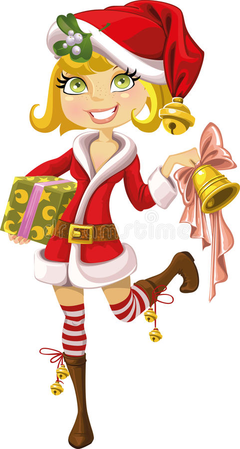 Cute blond girl in Santa suit with bell royalty free stock photography