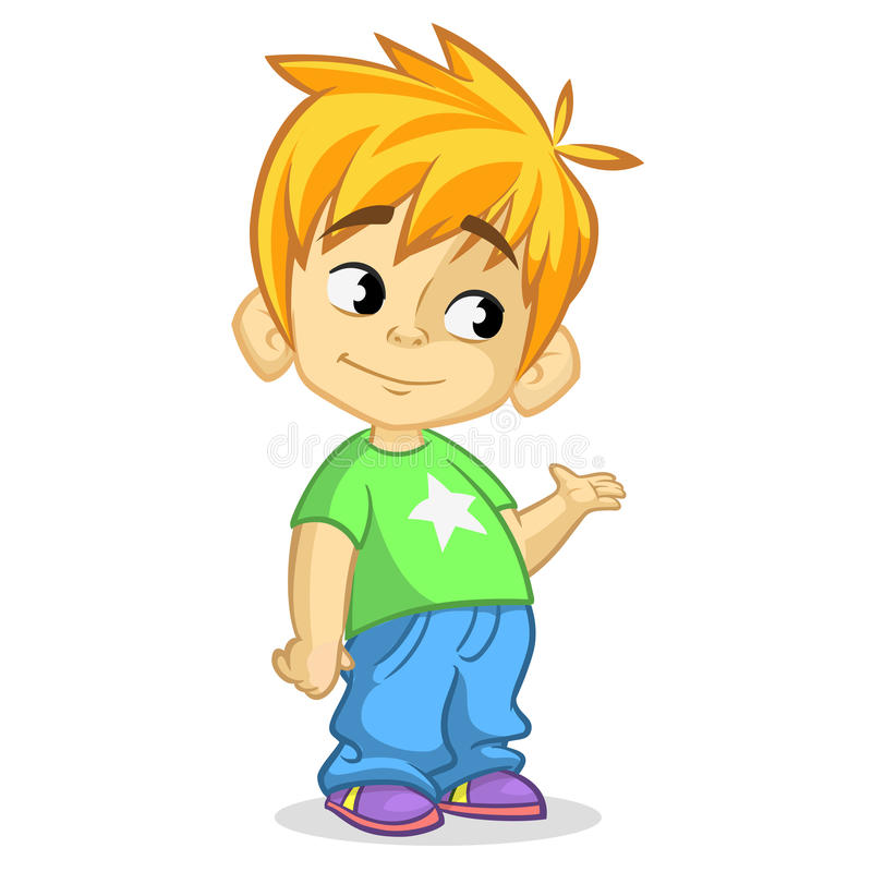 Free Cute Blonde Boy Waving And Smiling. Vector Cartoon Illustration Of A Boy Presenting Royalty Free Stock Images - 73180599