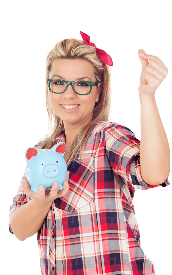 Cute Blonde Girl with a blue money box royalty free stock image