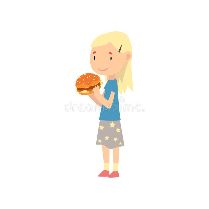 A Fat Girl Eating Delicious Hamburger Stock Vector