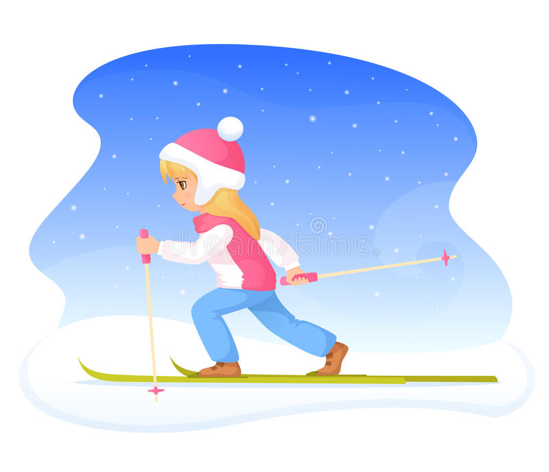 Cute blonde girl skiing royalty free illustration