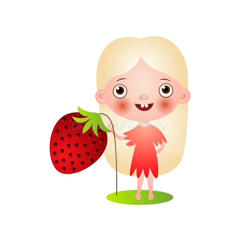 Cute blonde hair fairy girl in red clothes stock illustration