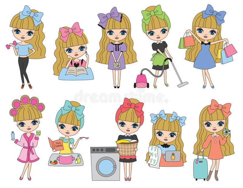 Cute Blonde Haired Girl vector illustration