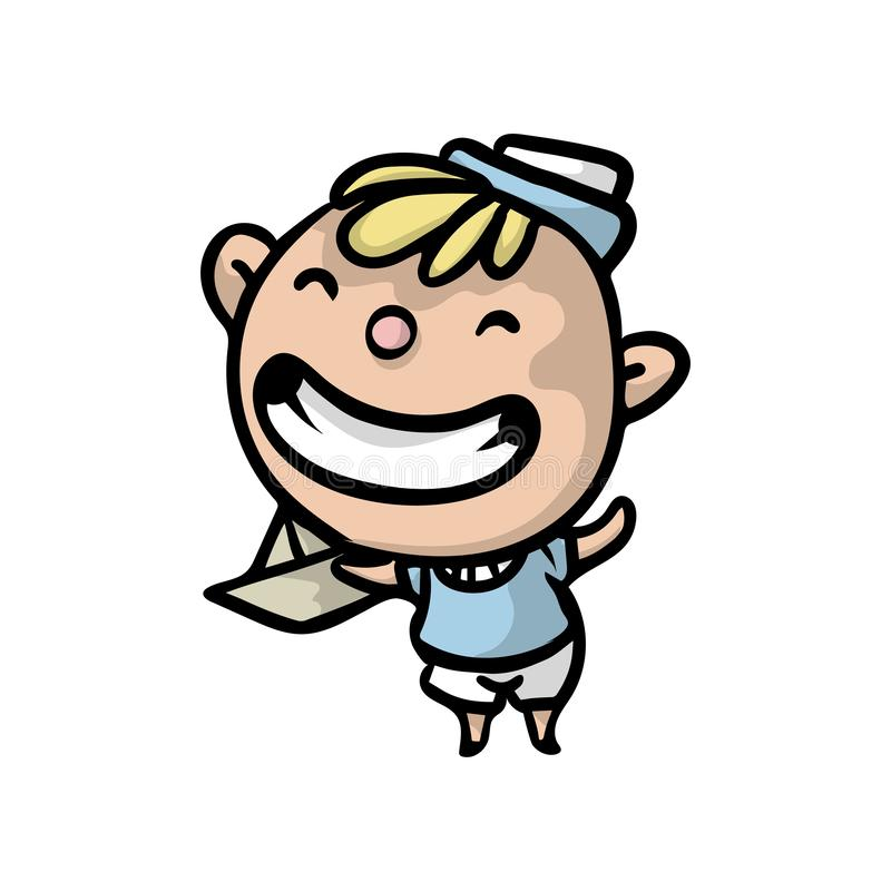 Cute blonde kid with marine clothes with paper ship vector illustration