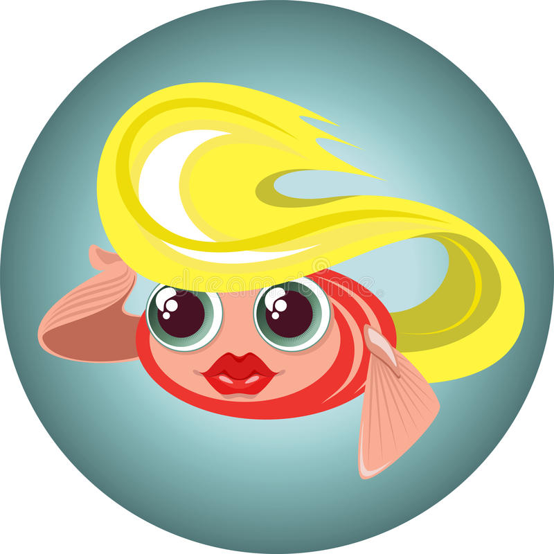 Cute blonde little fish in a circle