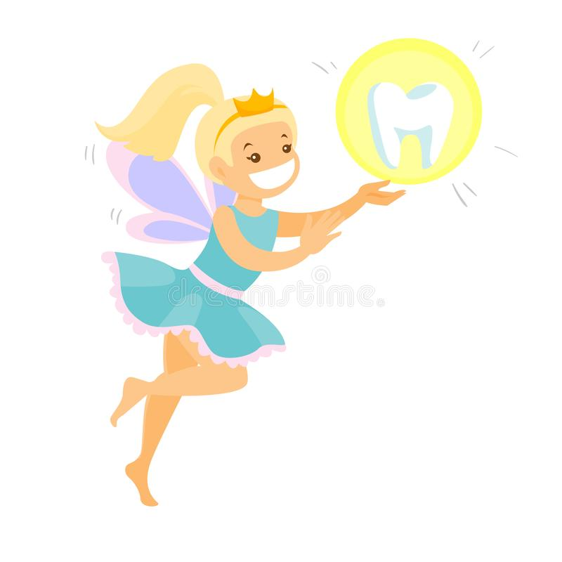 Cute blonde tooth fairy flying with a tooth. vector illustration