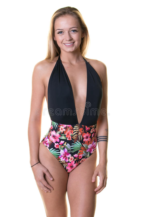 Cute blonde woman in swimsuit royalty free stock photos