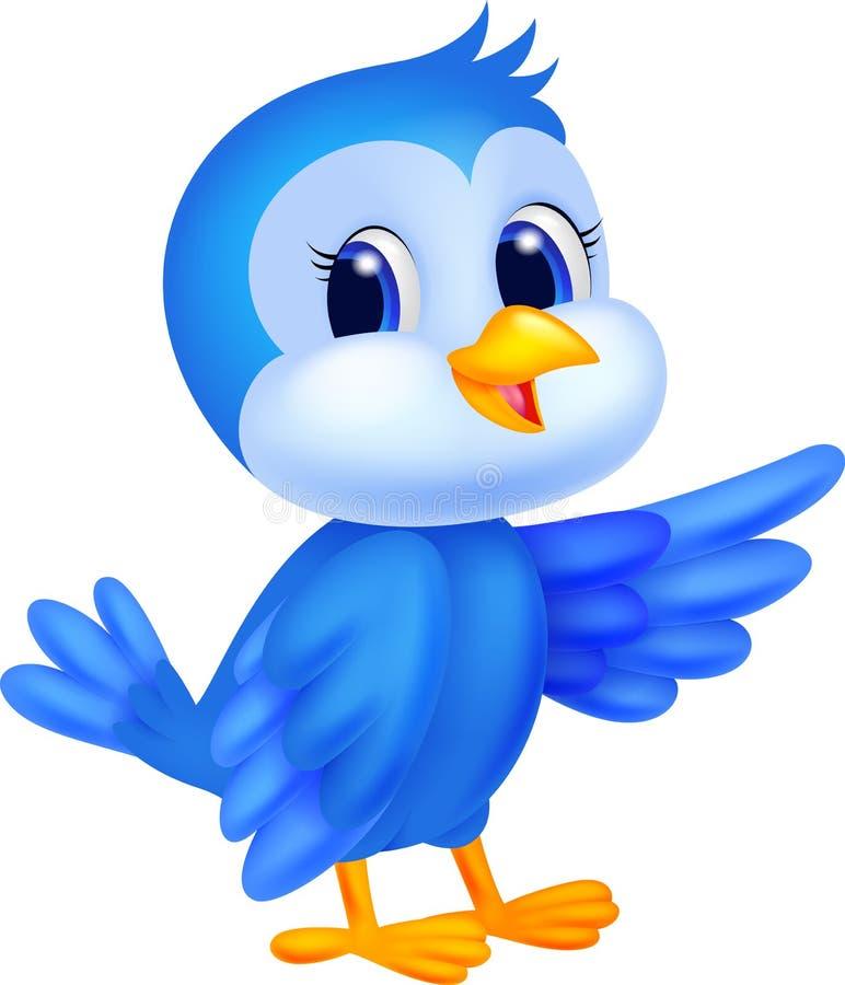 Cute blue bird cartoon stock vector. Illustration of happy ...