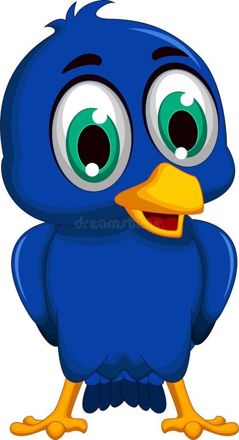 Cute blue bird cartoon posing. Illustration of cute blue bird cartoon posing stock illustration