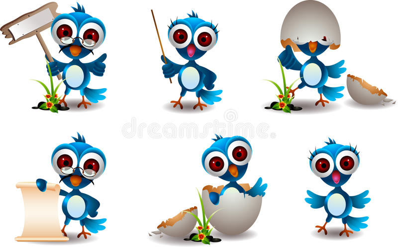 Download Cute Blue Bird Family Cartoon Set Stock Illustration - Illustration: 27502909
