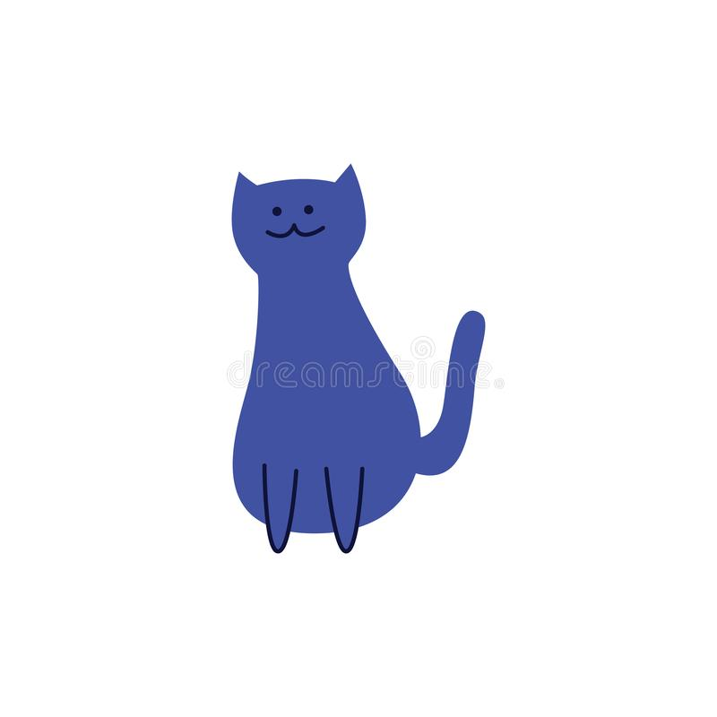 Cute blue cat sitting with tail lifted back flat cartoon style vector illustration